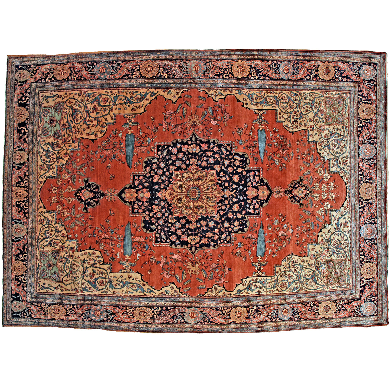 Antique central Persian Fereghan Sarou carpet with a navy medallion and four Cypress trees on a deep salmon color field