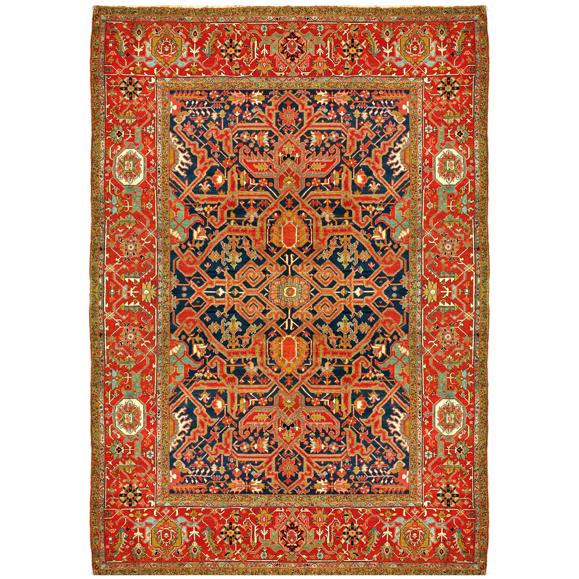 Antique Heriz Serapi carpet with a Split Arabesque design on a navy field, framed by a beautifully drawn red Turtle border