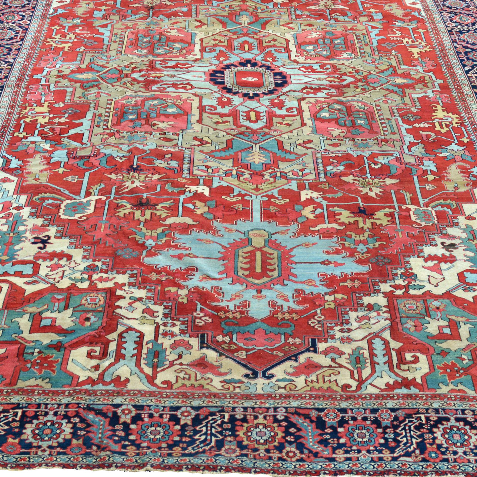 11.9 x 17.4 Antique Heriz Serapi carpet