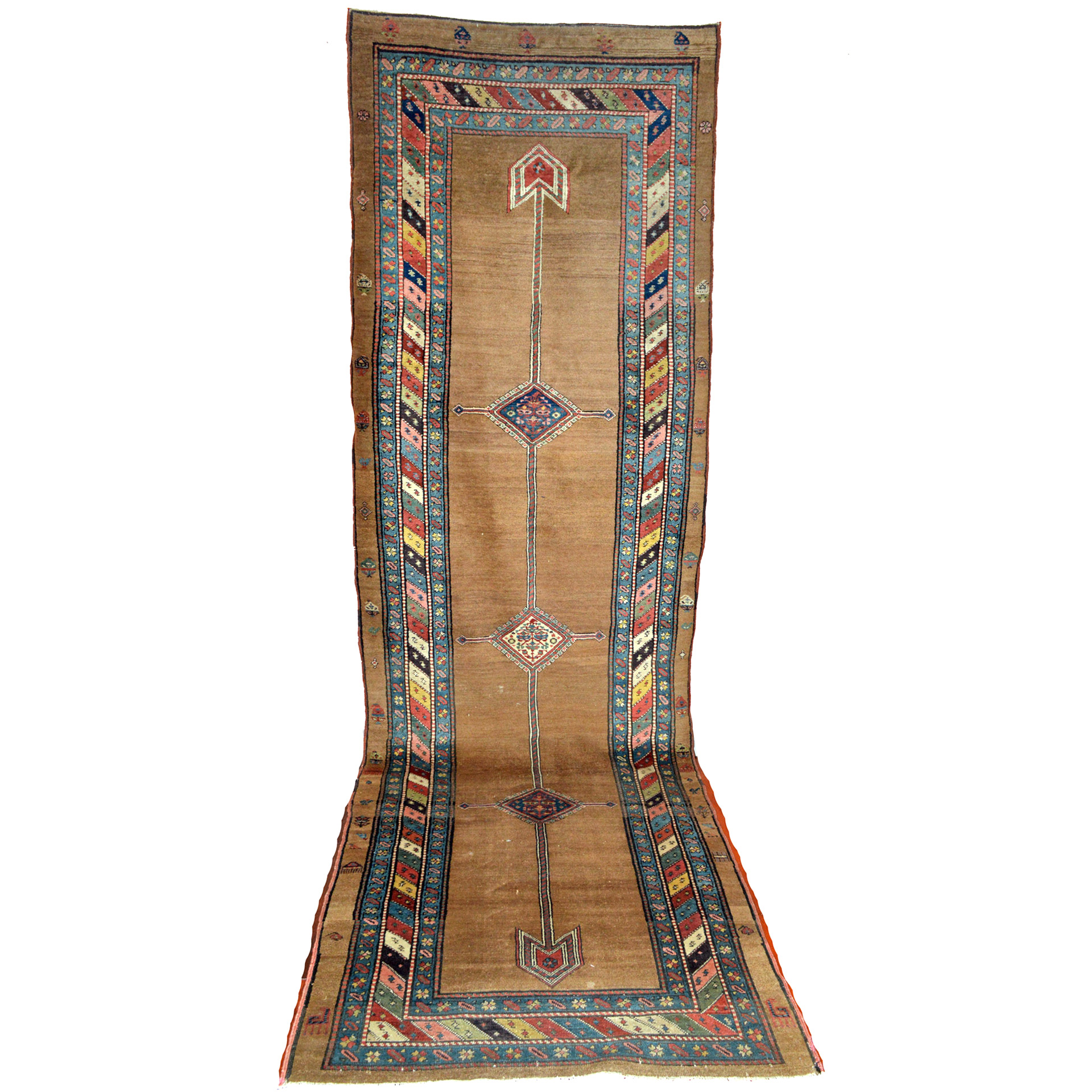 Antique Bakshaish runner from the Heriz district in northwest Persia, with a camel color open field design
