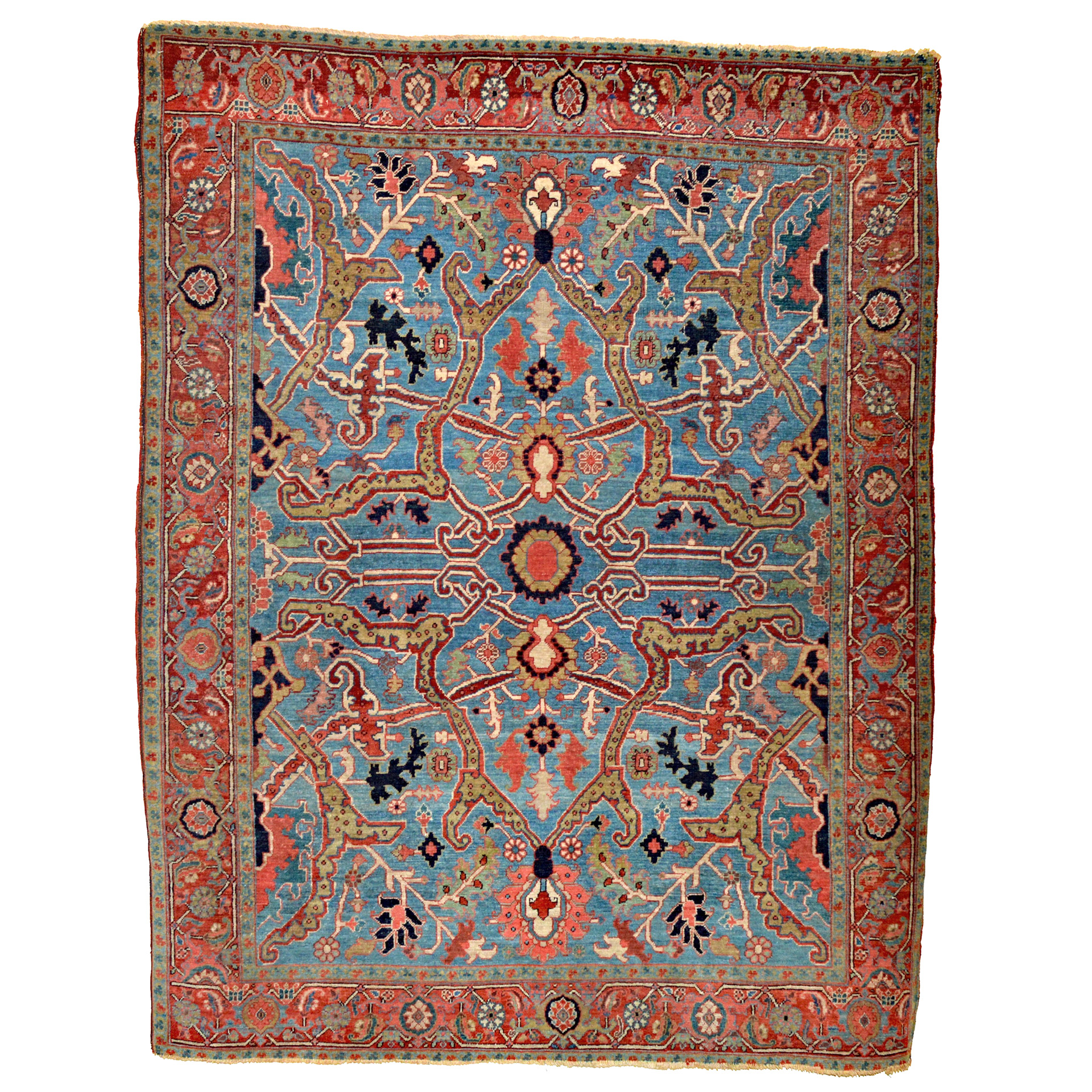 Antique Persian Heriz Serapi rug with a rare sky blue field and Split Arabesque design combination