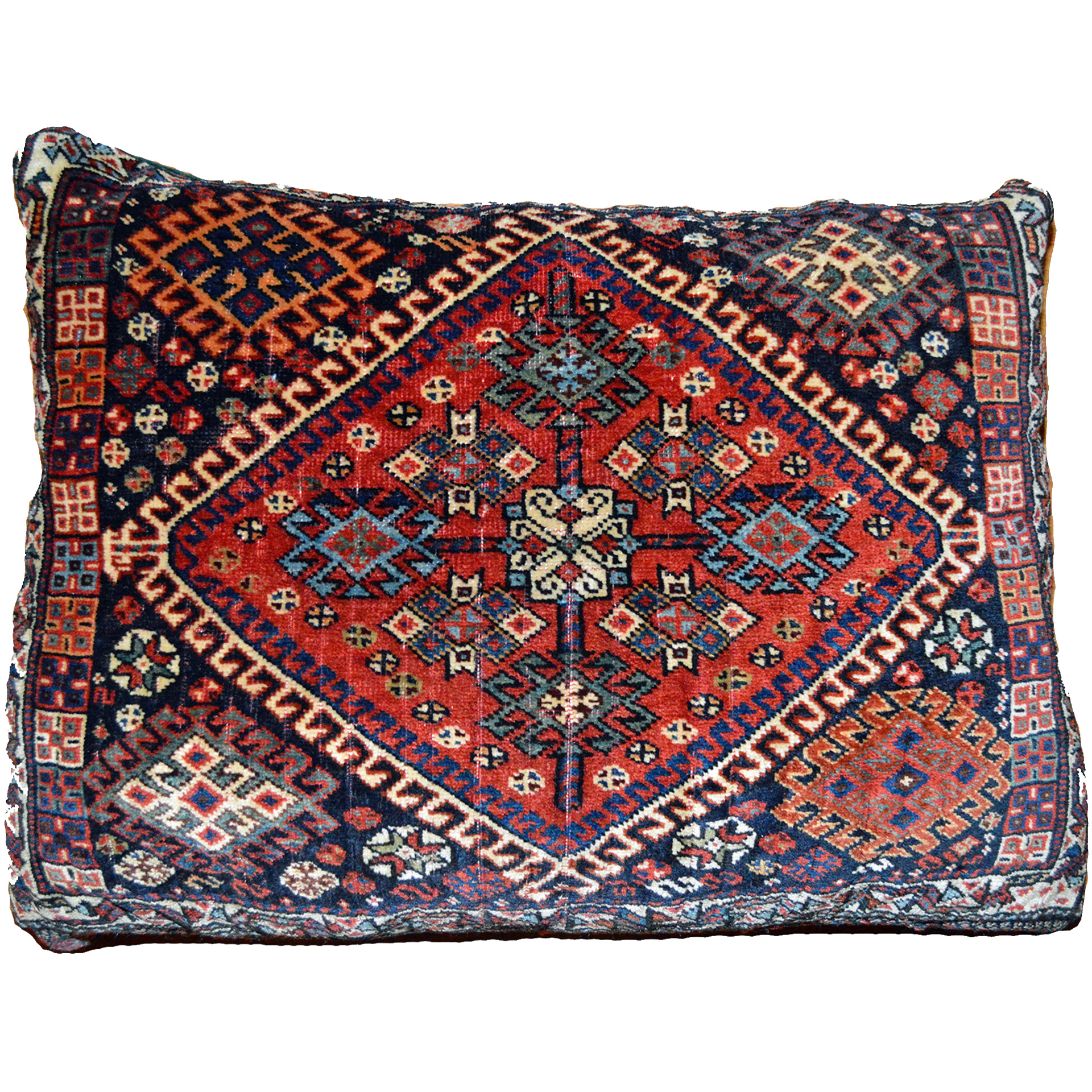 Antique QashQa'i tribal bag face pillow