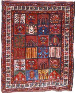 Antique Bakhtiyari rug with garden panel design