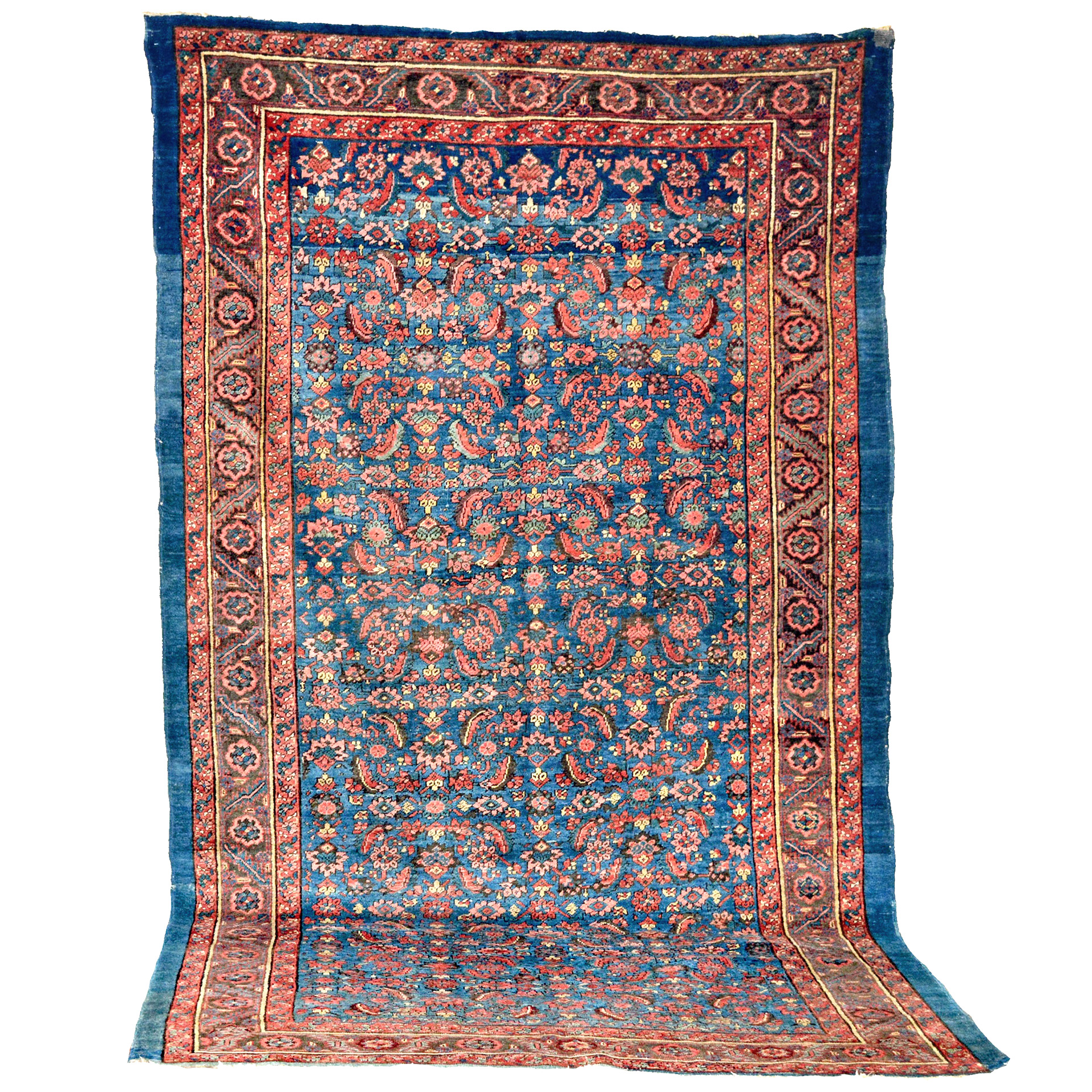 6 x 10.8 Antique Bakshaish carpet with the Herati design on a denim blue field