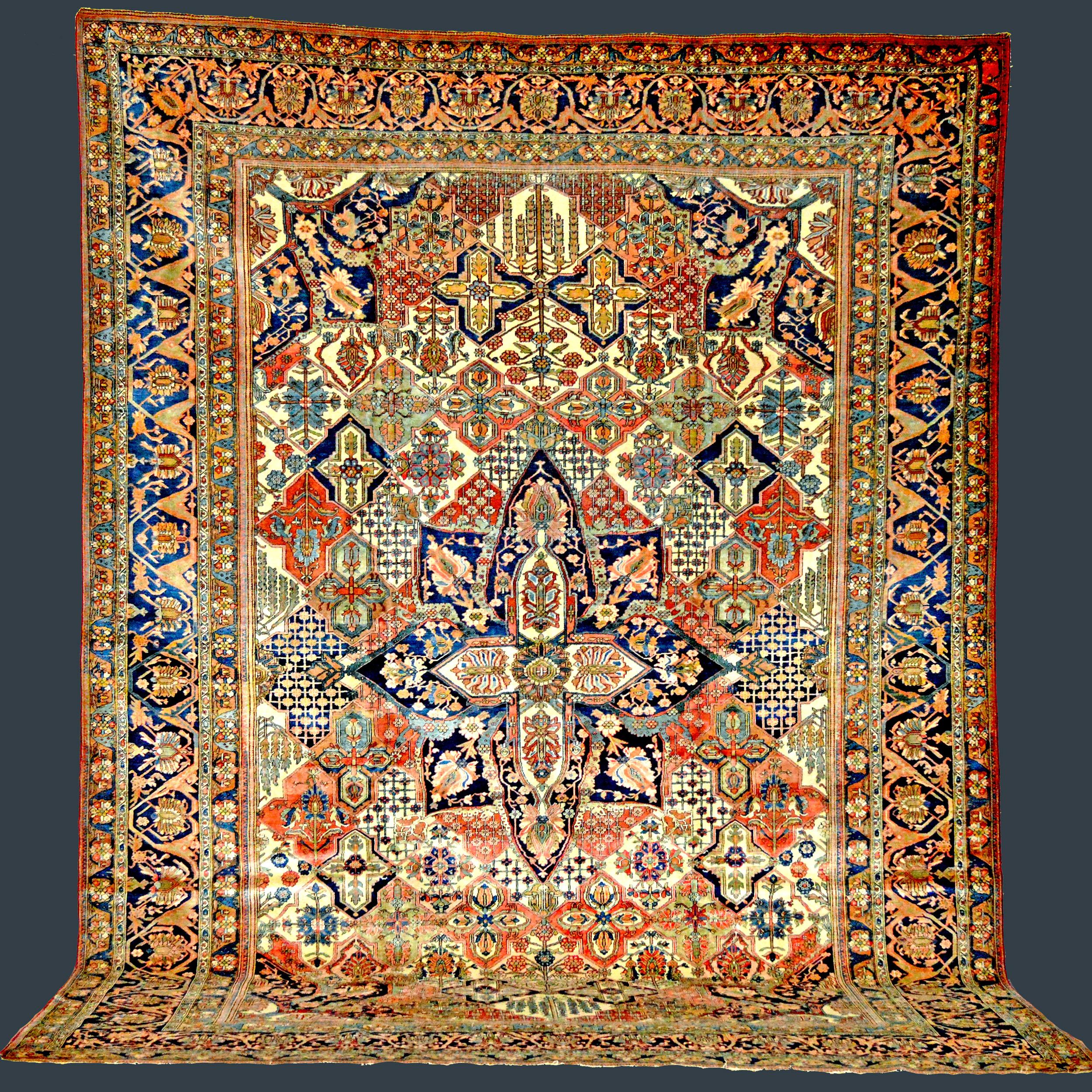 Antique Persian Mohtasham Kashan carpet with a garden panel design