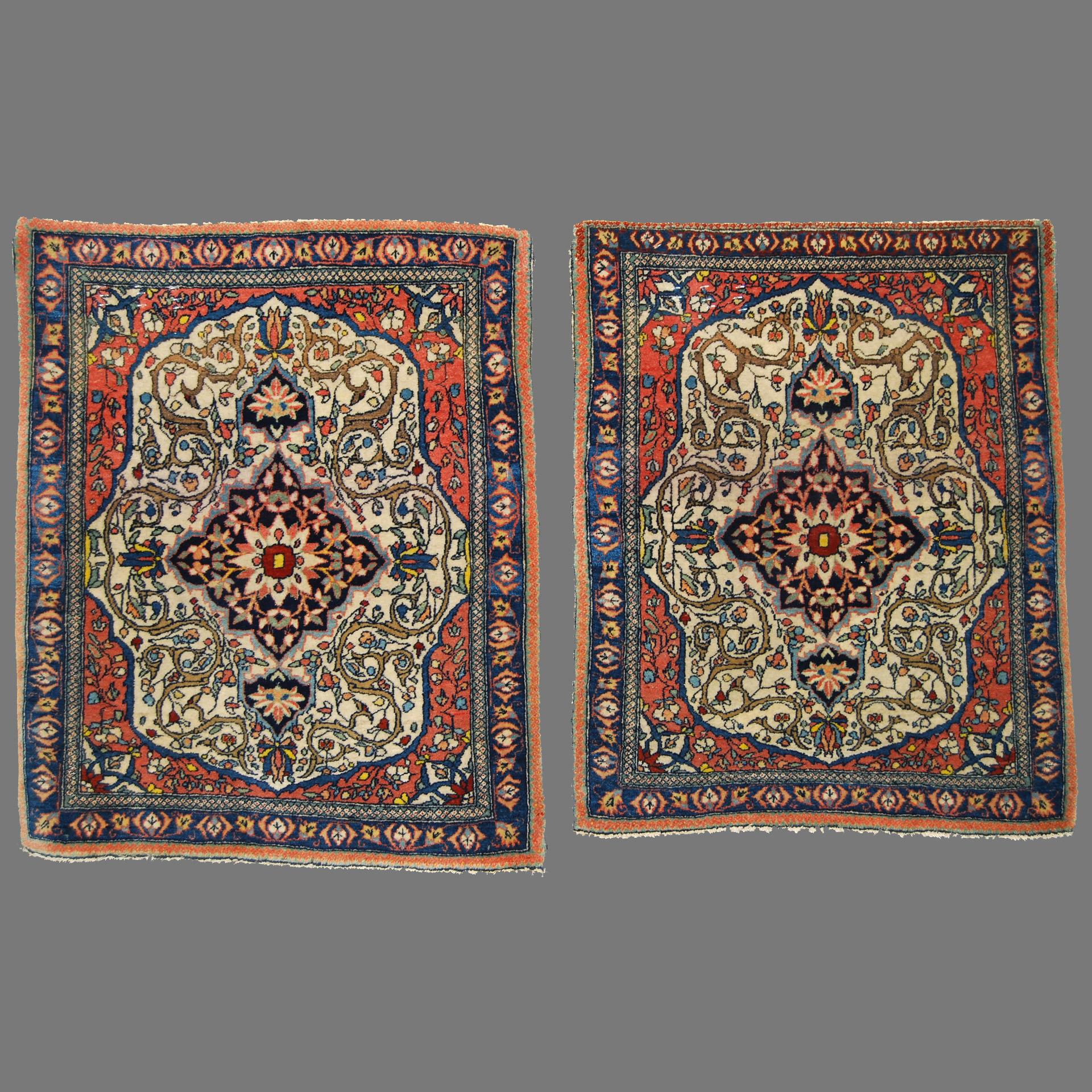 Pair of Antique Persian Mohtasham Kashan Rugs