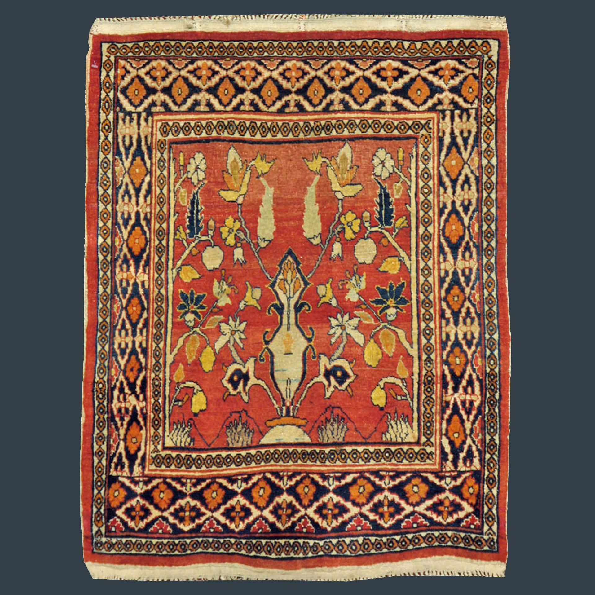 Antique Persian Tabriz Mat or Poshti - small rug