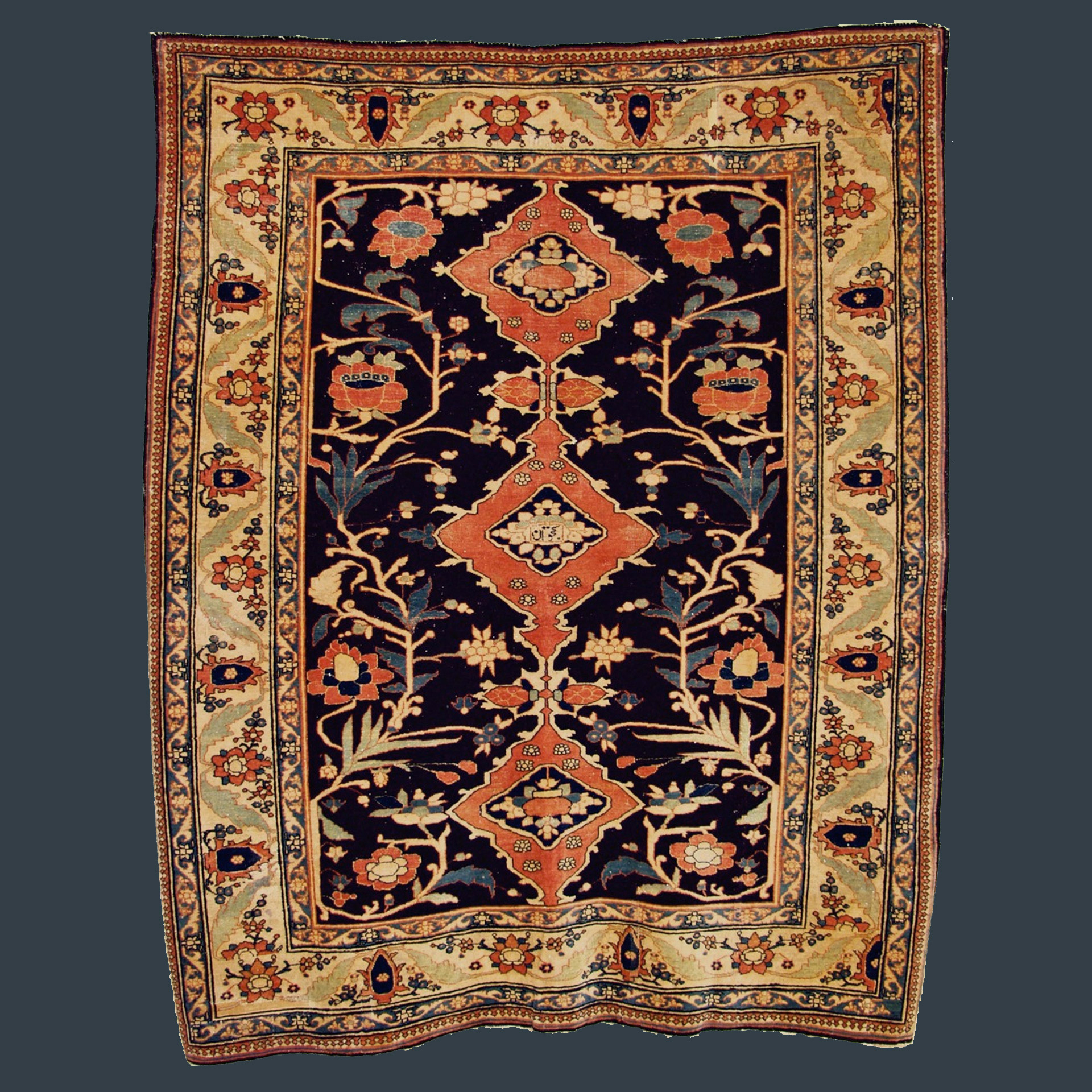 A 19th century antique Persian Tabriz rug with three medallions on a navy blue field, circa 1880 - Douglas Stock Gallery Antique Rug Research Archives