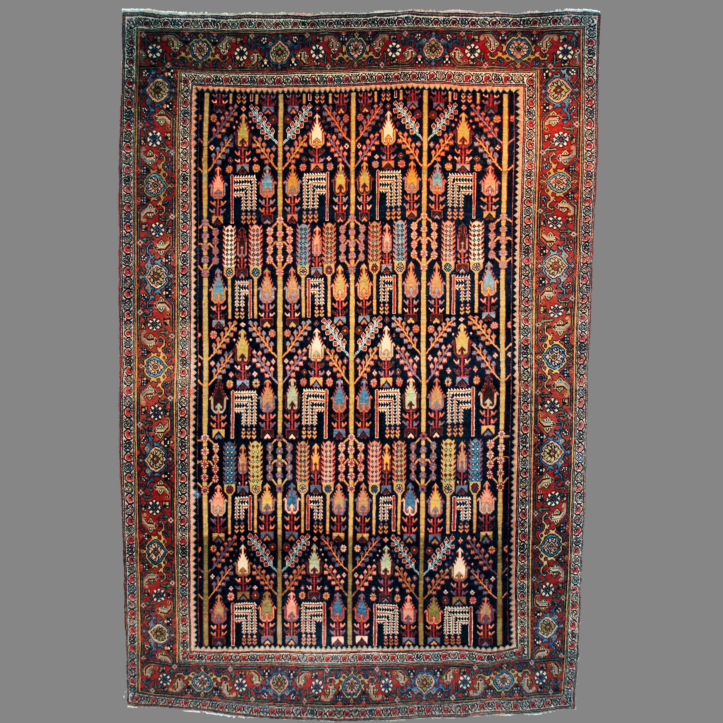 4.8 x 7 19th century antique Persian Bidjar rug with the Bid Majnun design of Cypress and Willow trees - Douglas Stock Gallery Antique Rug Research Archives