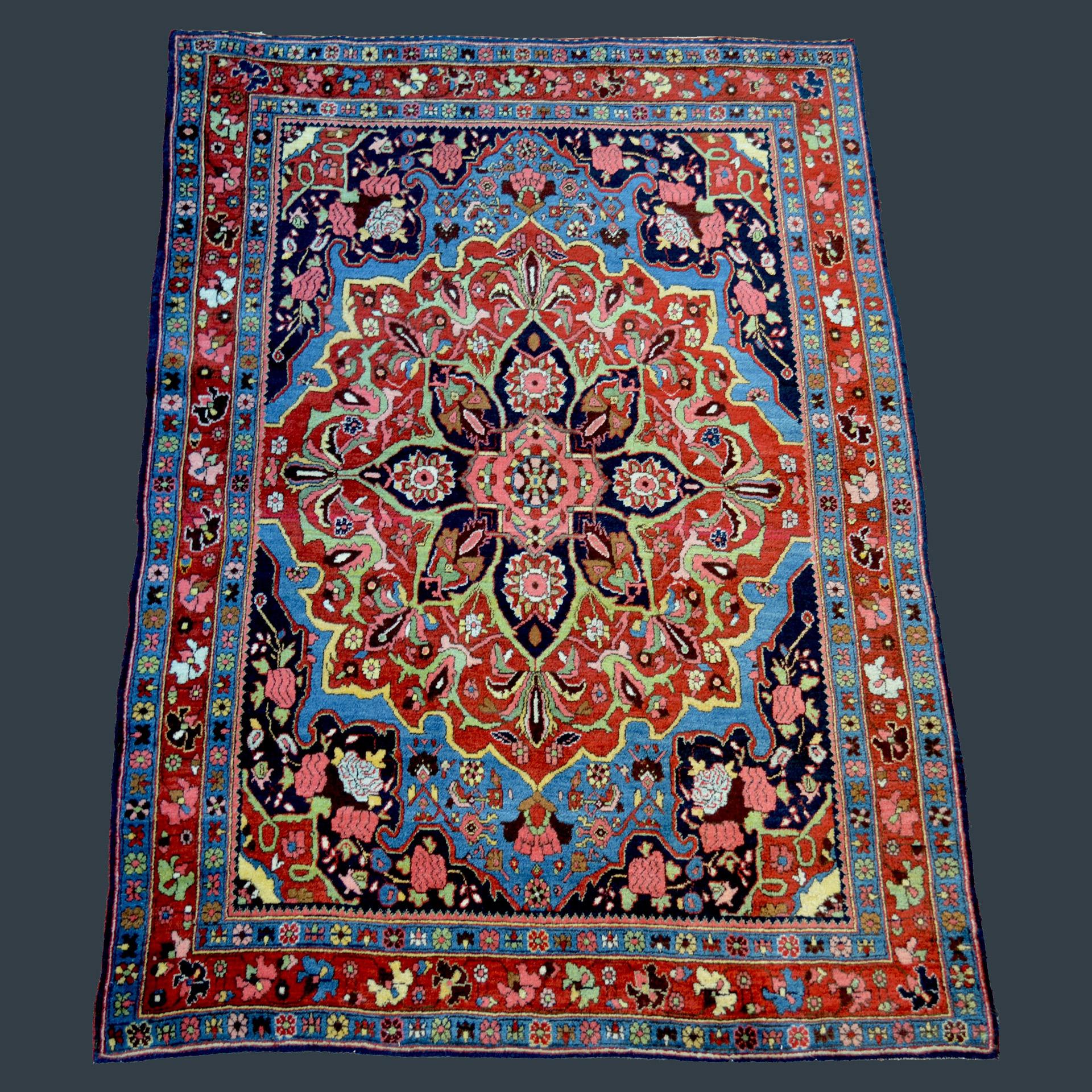 Antique Bidjar rug with deep sky blue field