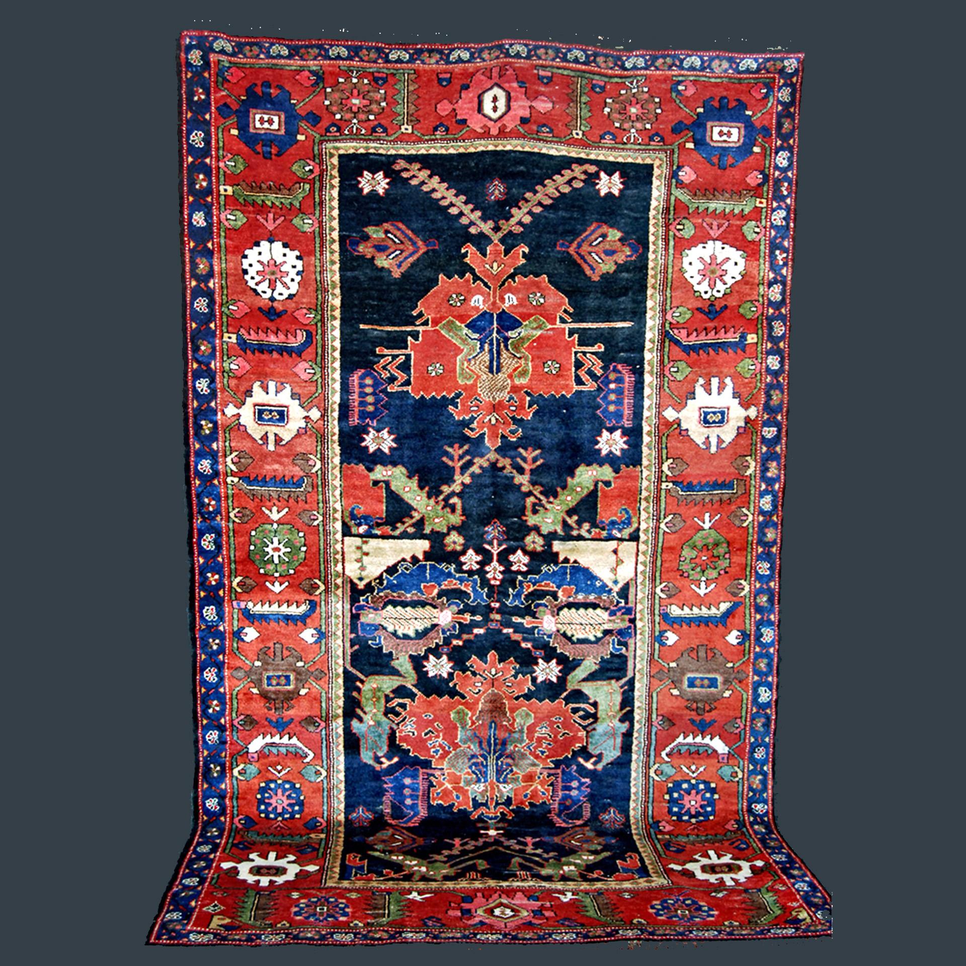Antique south Persian Bakhtiyari carpet with Dragon Carpet design