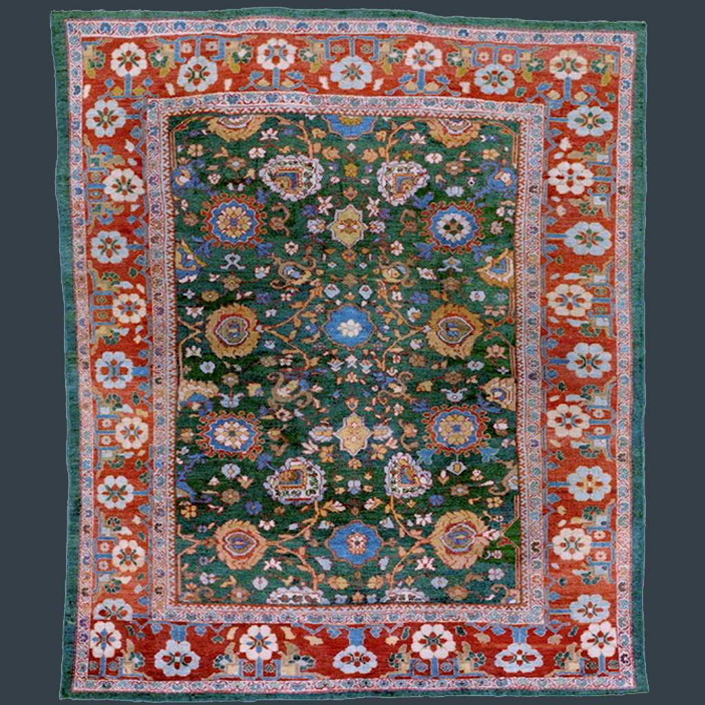 Antique Ziegler Sultanabad carpet with green field, central Persia