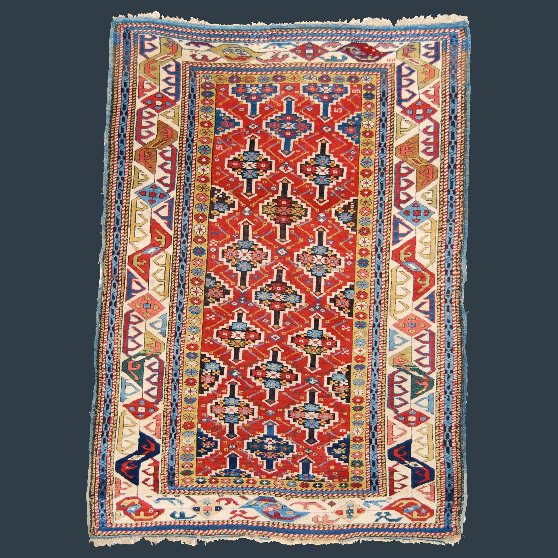 An important 19th century antique Caucasian Kuba rug