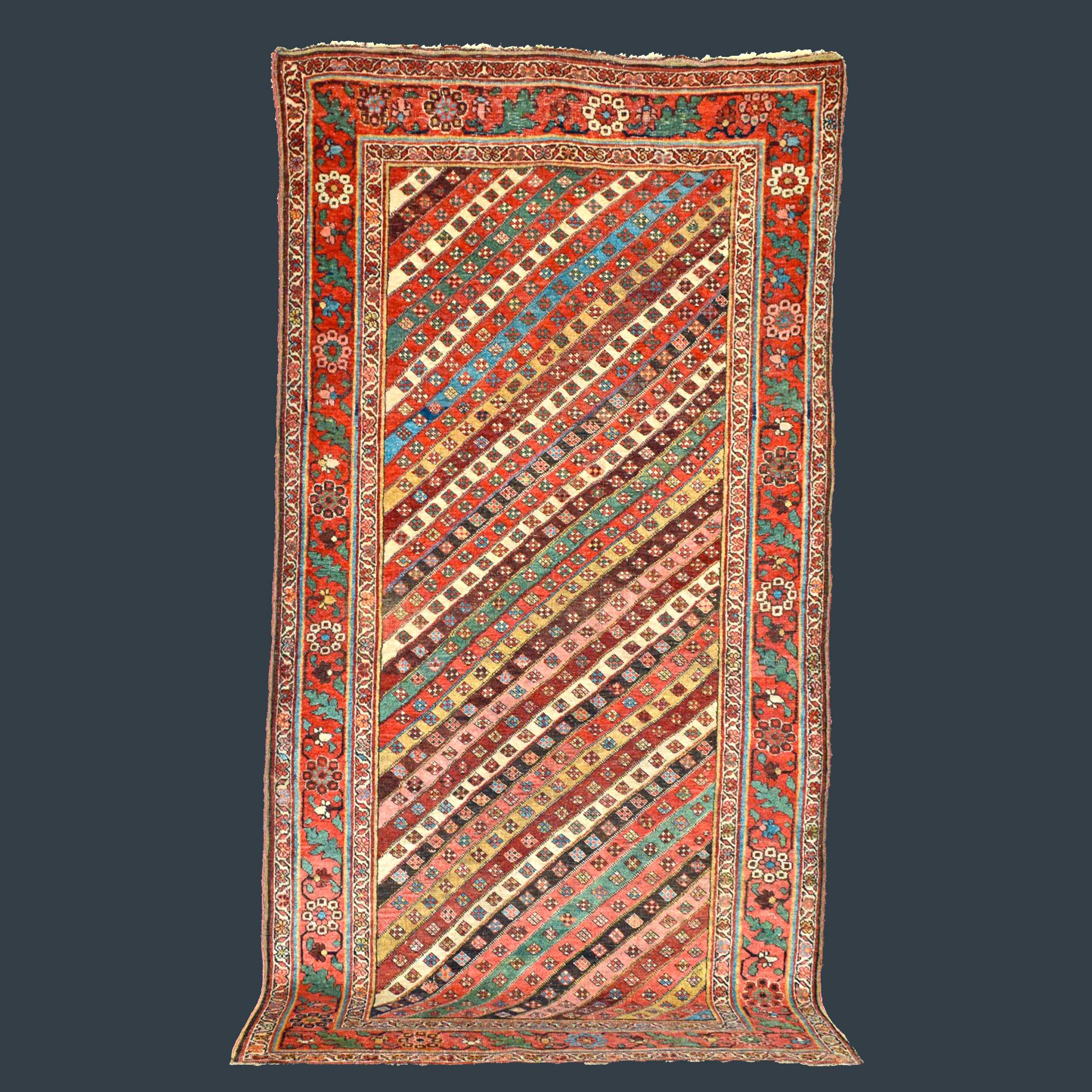 Antique Bidjar rug with diagonal stripe field design
