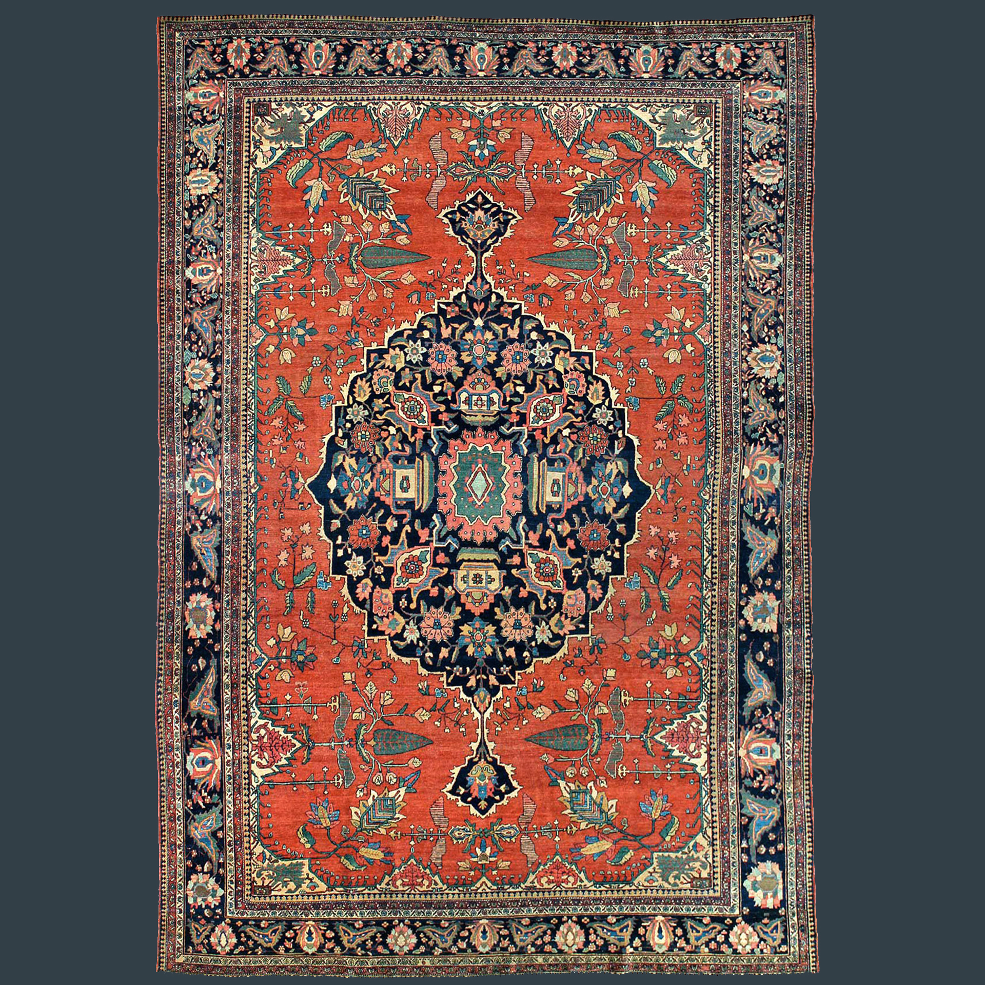 Antique Persian Fereghan Sarouk carpet with a central medallion and Cypress Trees in the field