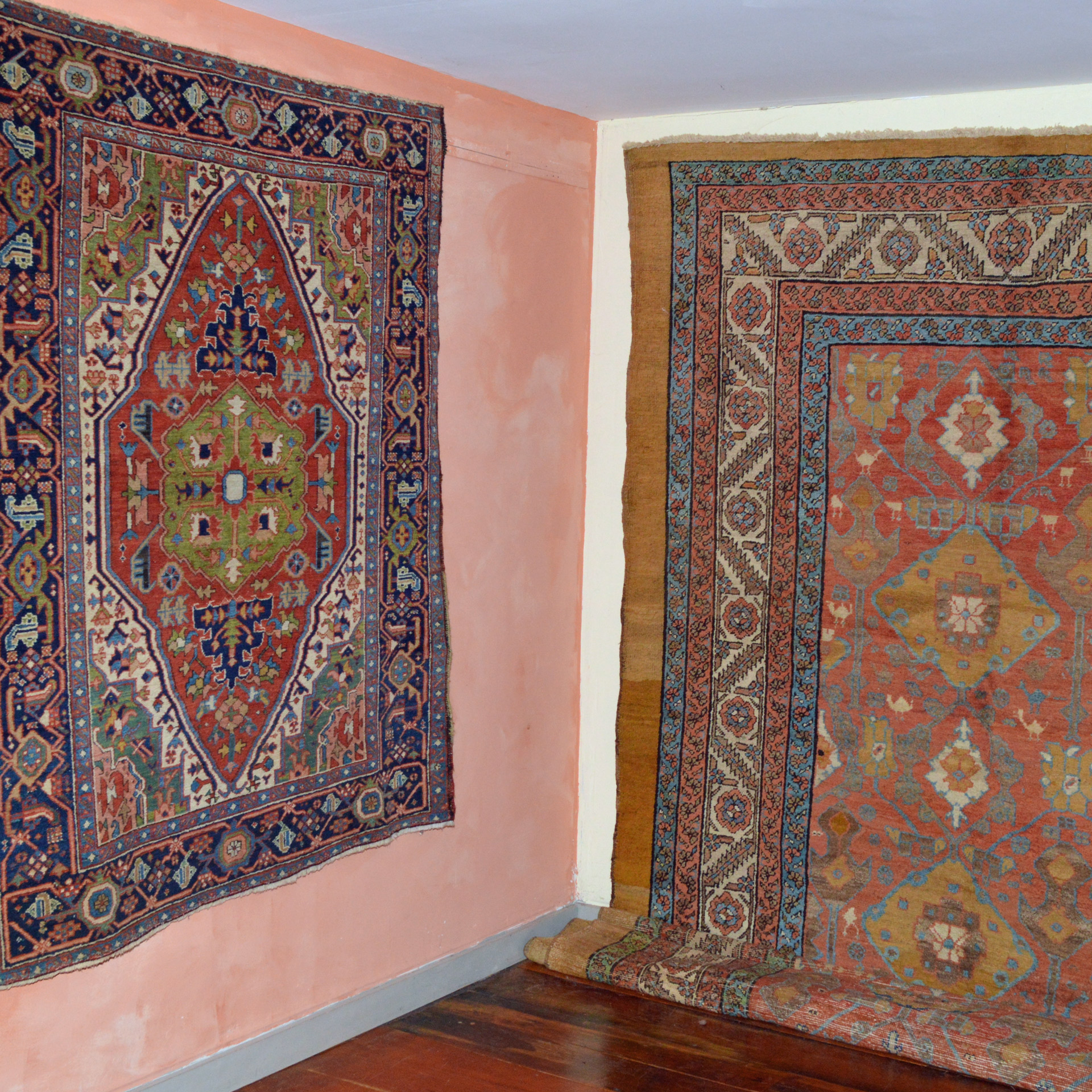 Antique Karaja rug and Bakshaish carpet at Douglas Stock Gallery, Boston, MA area antique Oriental rug and carpet specialist dealer with a national reputation