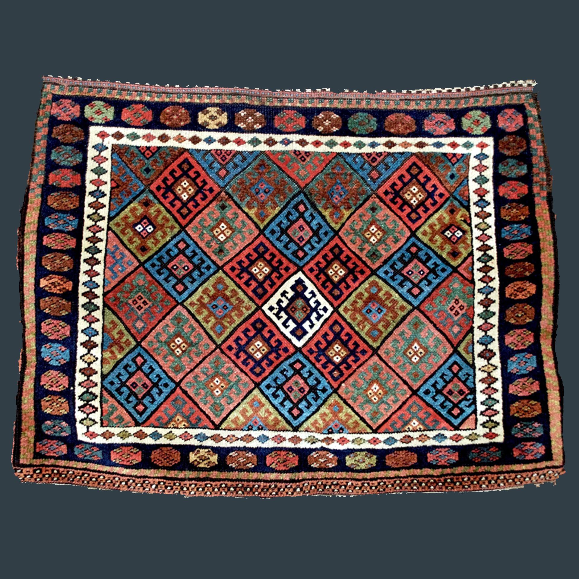 Large Antique Jaff Kurdish Diamond Design Bag Face, Northwest Persia, Circa 1890