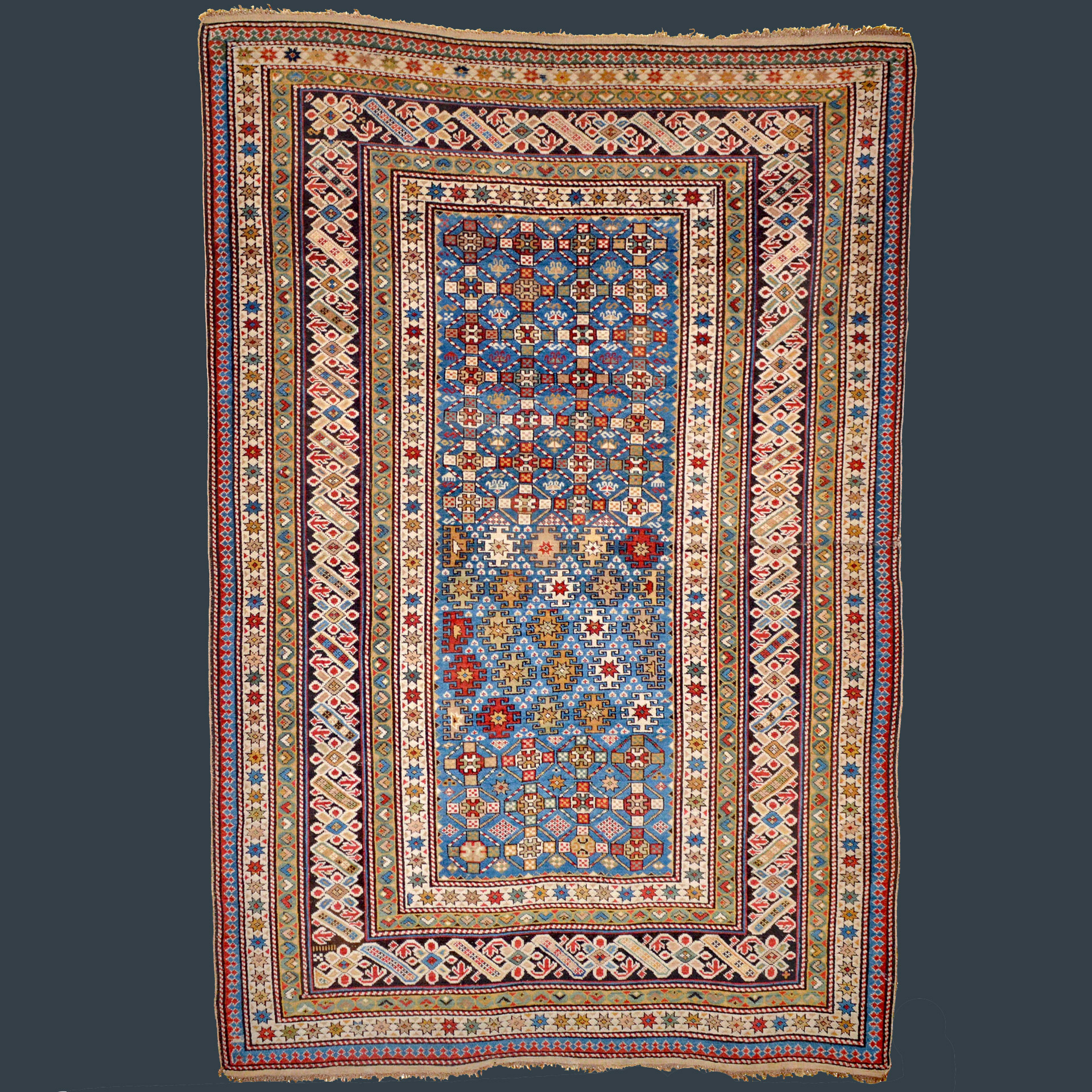 Antique Caucasian Chi Chi rug with uncommon sky blue field