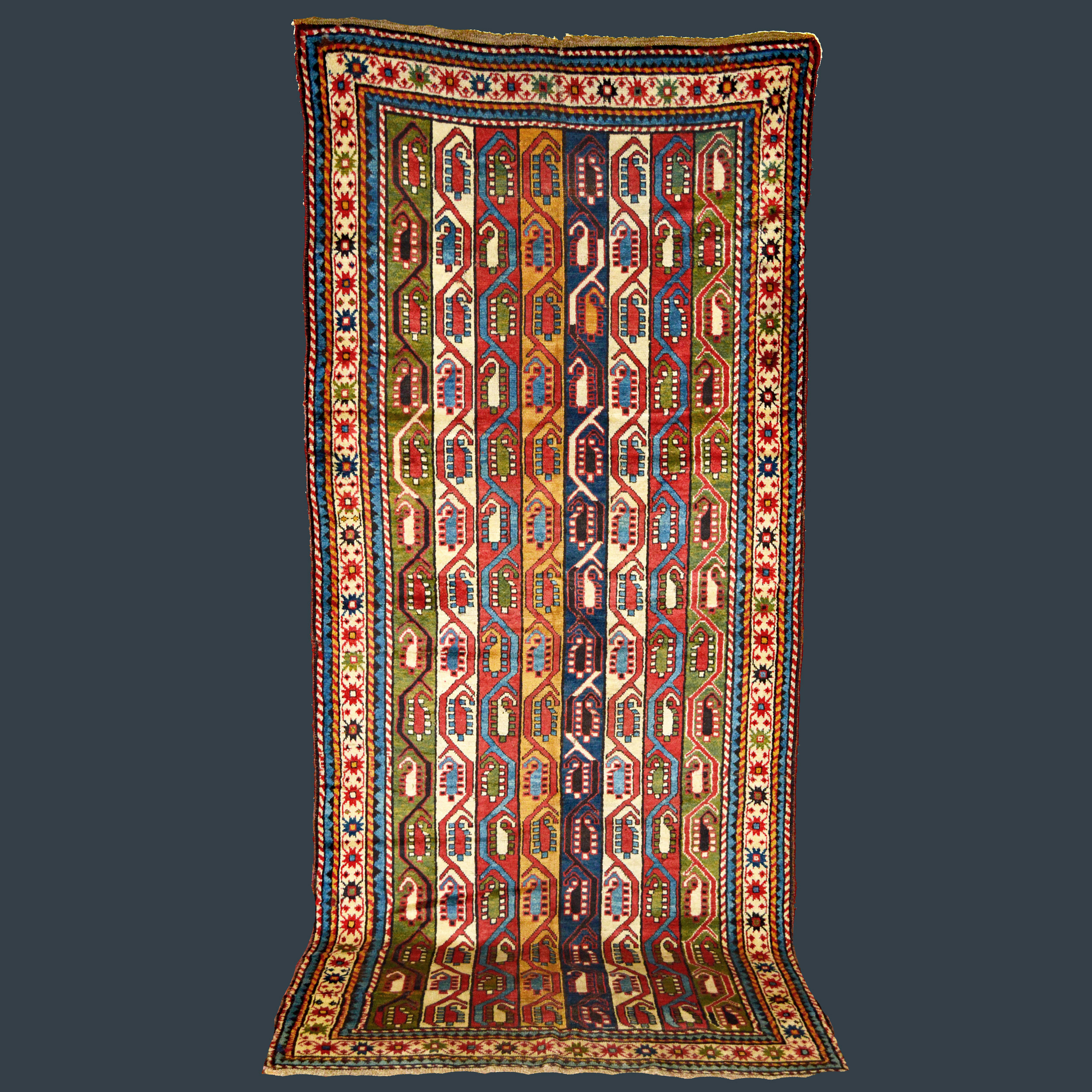 Antique South Caucasian Karabagh rug with polychromatic vertical bands of color containing Both