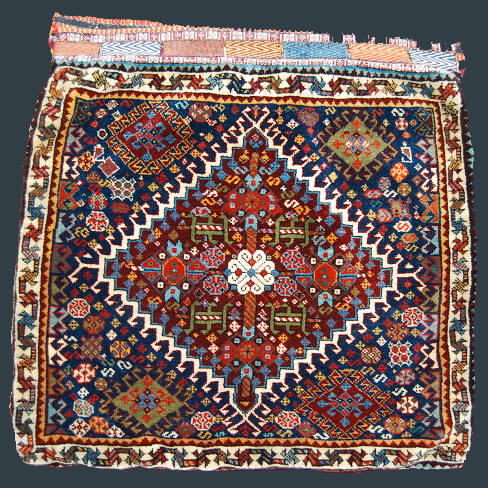 Pair of very finely woven antique QashQa'i tribal bags with brownish aubergine medallion on a navy blue field, southwest Persia, circa 1885