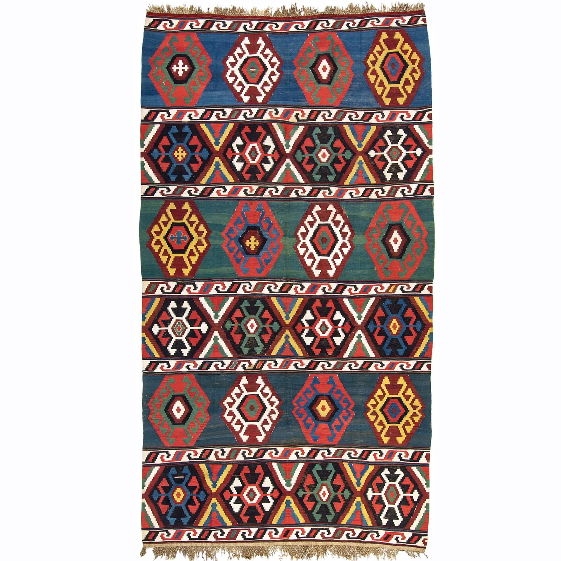 Antique Caucasian flat woven kilim rug with large latch hook medallions on bands of various colors