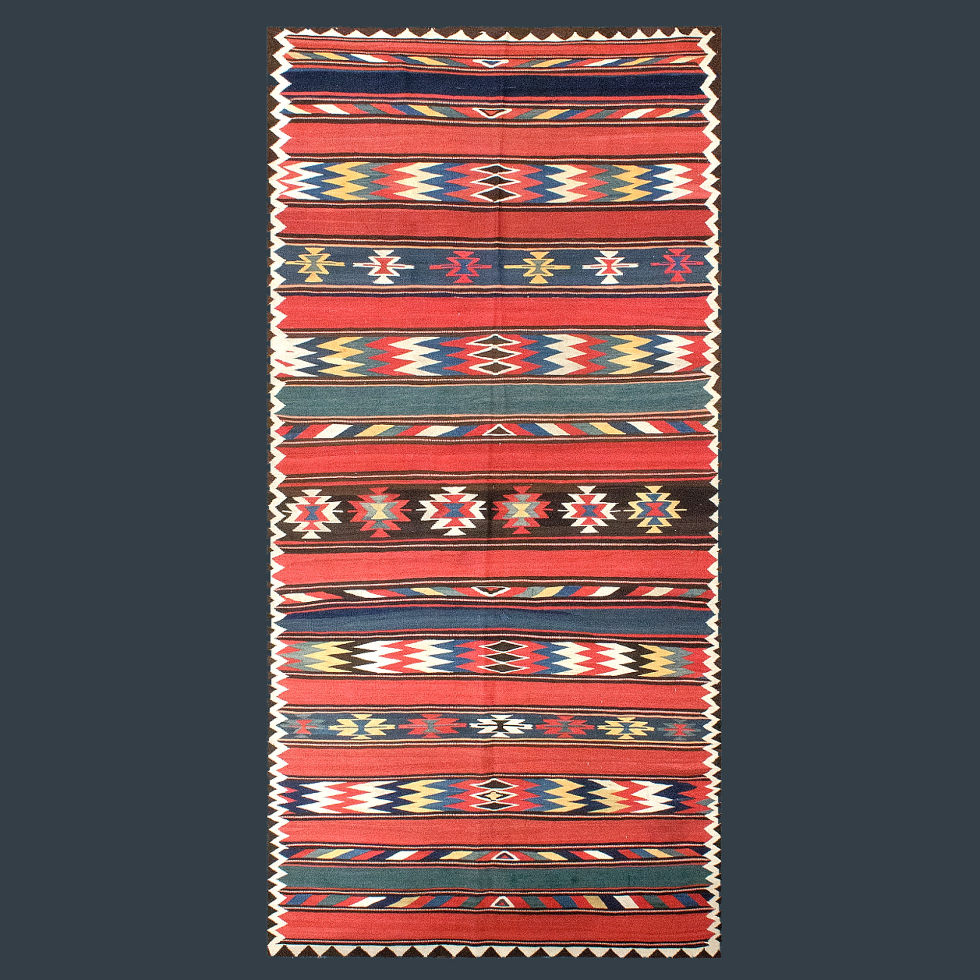 Antique Veramin kilim carpet, north central Persia, polychromatic bands of color with geometric motifs and some bands of plain color with no decoration