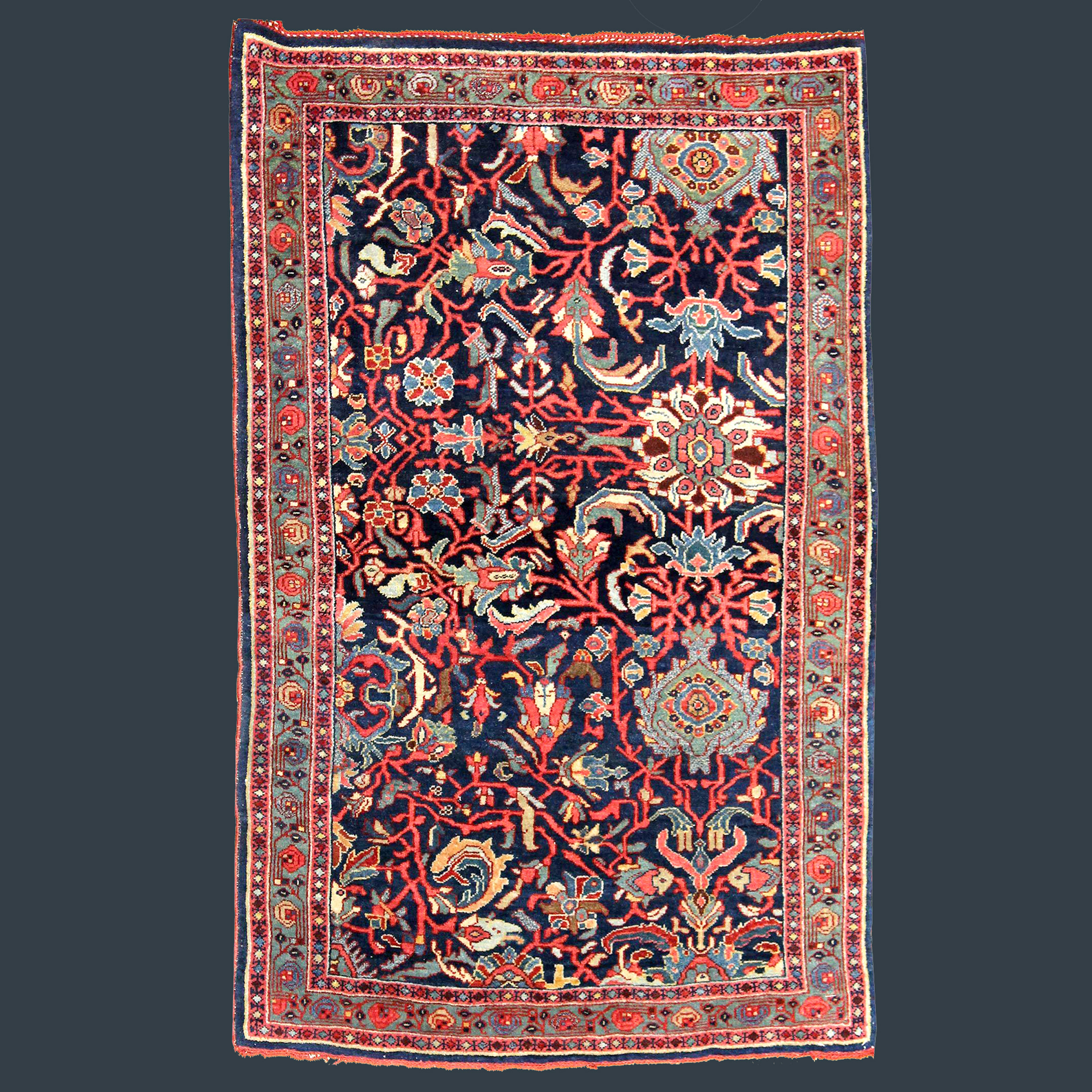 Antique Persian Bidjar rug with a palmette design on a navy blue field with a green border, possibly a Sampler or Wagireh, northwest Persia, circa 1910