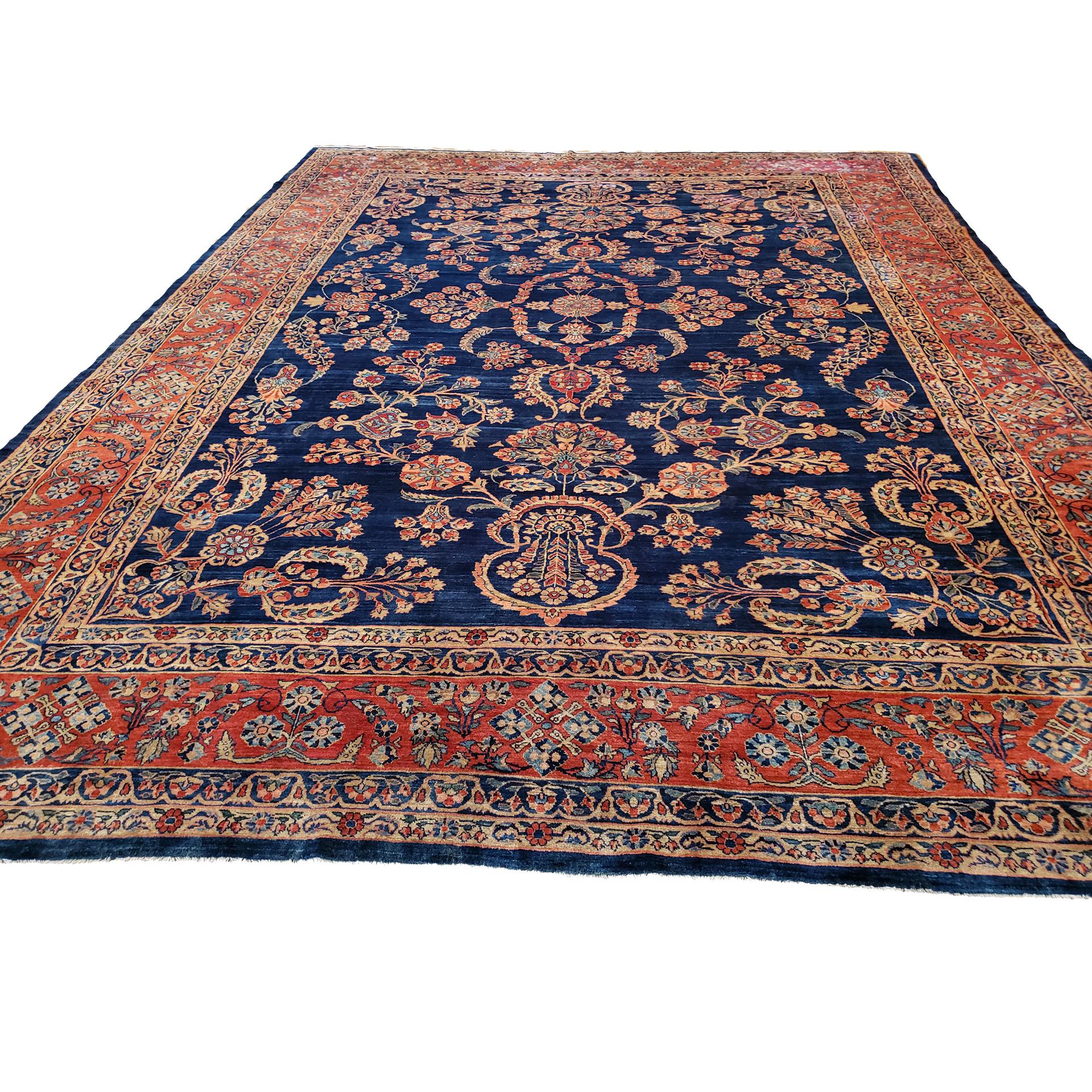 Antique Mahajaran Sarouk carpet with navy blue field, central Persian, circa 1915 - Douglas Stock Gallery, Boston,MA area
