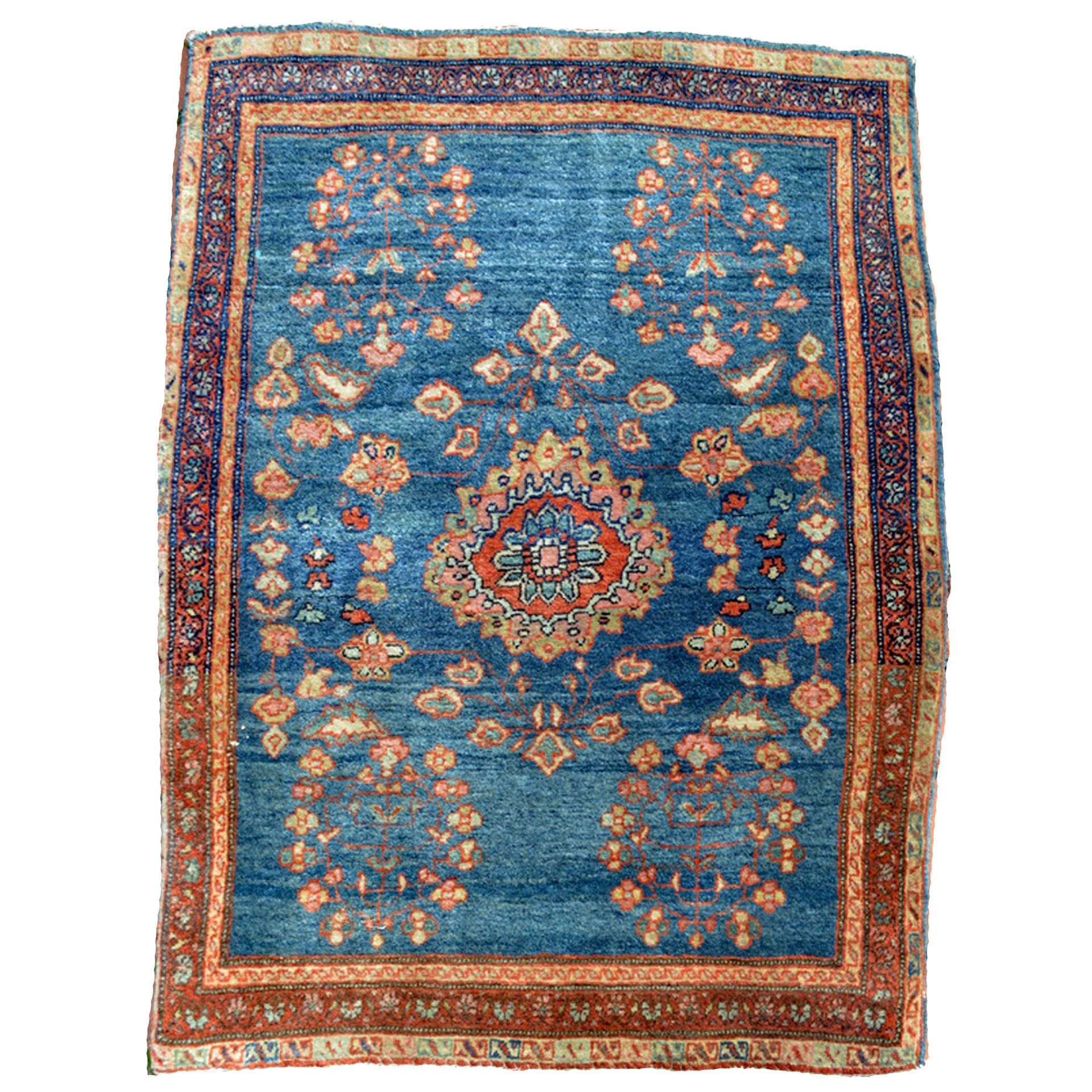 """An antique Persian Fereghan Sarouk """"Mat"""" or """"Poshti"""", terms for a Persian rug measuring approximately 2 feet by 3 feet - Douglas Stock Gallery, Antique rugs Boston,MA area, Antique Oriental Rugs Natick, Wellesley, Newton,MA area"""
