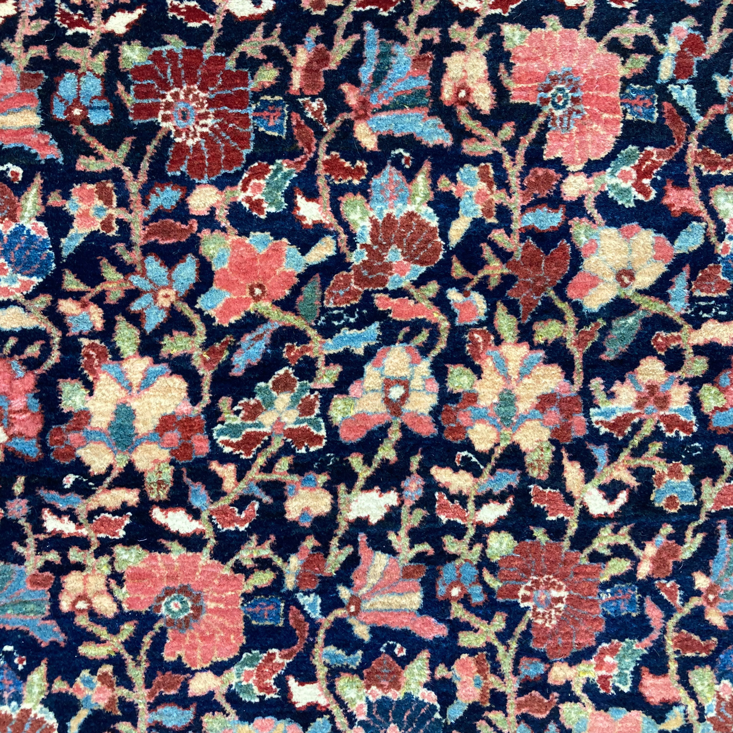 Antique Persian Bidjar with a Millefleur design on a navy blue field - Douglas Stock Gallery, antique Persian carpets and Oriental rugs, Boston,MA area