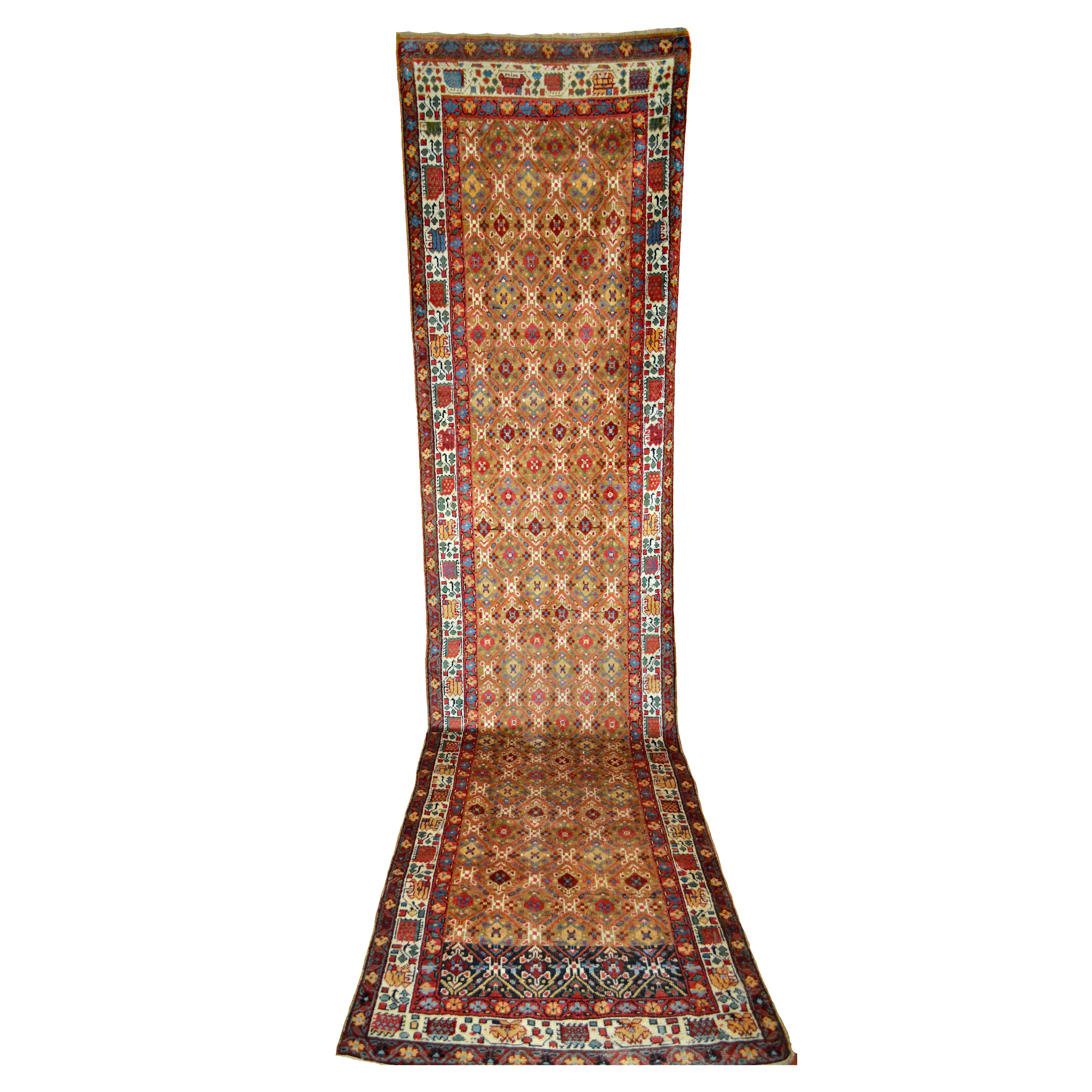 Antique Northwest Persian runner rug with camel color field, circa 1875 - Douglas Stock Gallery, Boston,MA area, New England antique Persian rugs